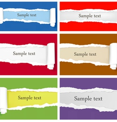 Set ripped colorful papers vector