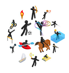 summer sports isometric 3d icons set vector image