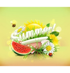 Summer time for a picnic watermelon nature outdoor vector
