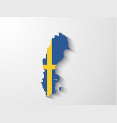 sweden map with shadow effect vector image