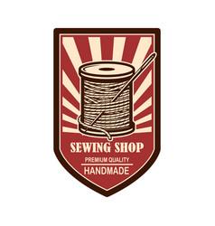Tailor shop emblem template design element vector
