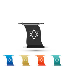 Torah scroll icon isolated star of david symbol vector