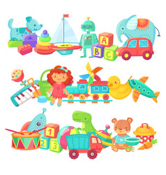 Toy piles kids toys groups cartoon baby doll vector