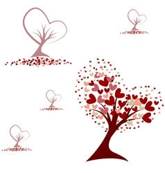 Tree with red hearts seamless pattern vector