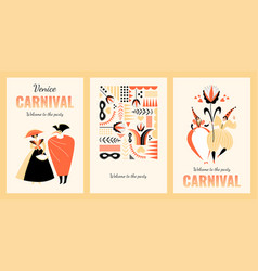 Venice carnival banners with funny characters vector