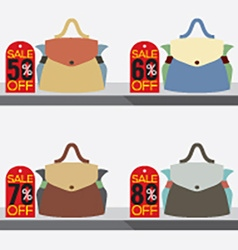 Women bags with sale tags vector