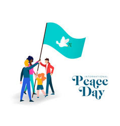 World peace day diverse friend group teamwork vector