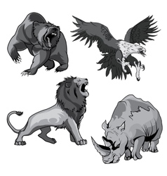 Zoo rhino hawk grizzly bear and savannah lion vector image