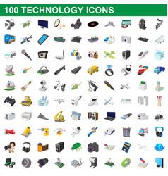 100 technology set cartoon style vector image