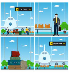 airport arrival and departure vector image