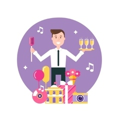 Event Manager and Party Objects vector image vector image