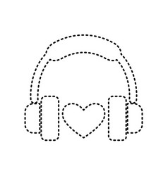 headphones with heart black dashed icon vector image
