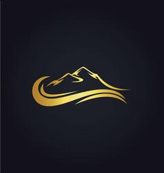 mountain water abstract gold logo vector image vector image