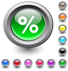 Percent round button vector image vector image