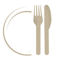 dish with fork an knife vector image vector image
