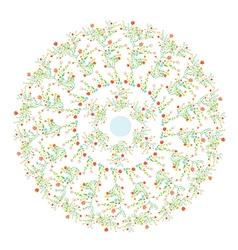 Floral round motive spring design vector image