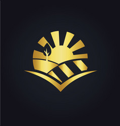 Nature landscape eco gold logo vector