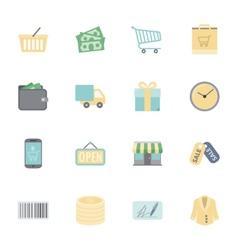 Shopping flat icons set vector image