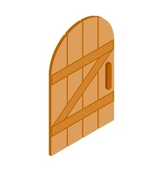 Arched wooden door icon isometric 3d style vector