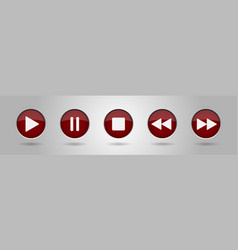 burgundy music control buttons setgray background vector image