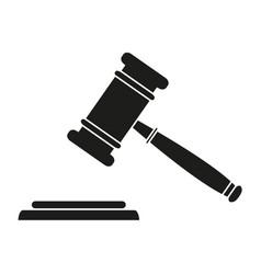 judge hammer black icons vector image