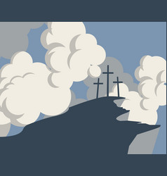 mountain with three crosses and sky with clouds vector image