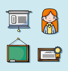 set school tools education to learn vector image