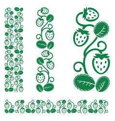 strawberry monochrome ornament vector image vector image