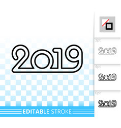 2019 simple black line happy new year icon vector image