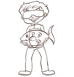A man fishing vector image