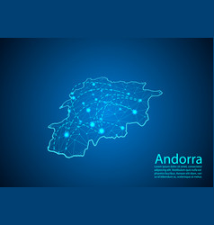 andorra map with nodes linked by lines concept of vector image