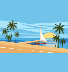 beach against the backdrop of a seascape yacht vector image