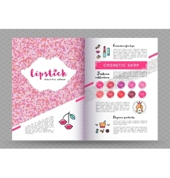 beauty brochure A4 Makeup and lipstick vector image
