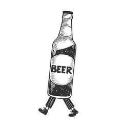 beer bottle walks on its feet sketch vector image