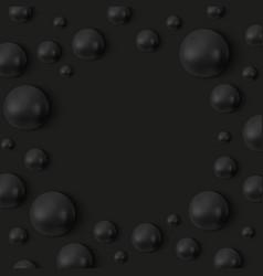 black pearls around frame on black background vector image