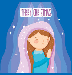 Blessed mary praying manger nativity merry vector