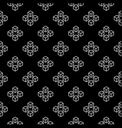 Blockchain cubes outline seamless pattern vector