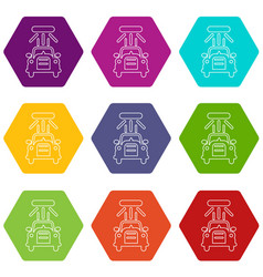 car wash icons set 9 vector image
