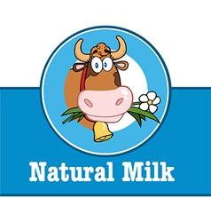 Cartoon cow emblem vector