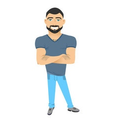 Character with beard flat hipster man with beard vector