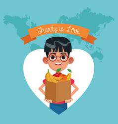 Charity is love cartoon vector
