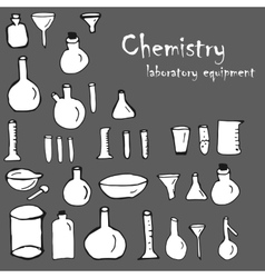 Chemistry and science elements doodles icons set vector image