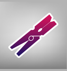 clothes peg sign purple gradient icon on vector image