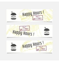 Collection of banners templates with sketched fast vector image