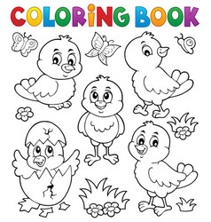 coloring book cute chickens topic set 1 vector image