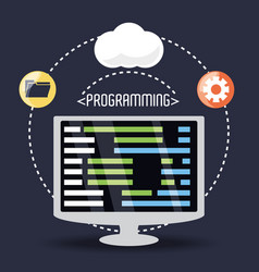 Computer with programmig coding on screen vector
