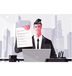 Confident business man with filled form vector