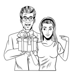 Couple avatar with gift box in black and white vector