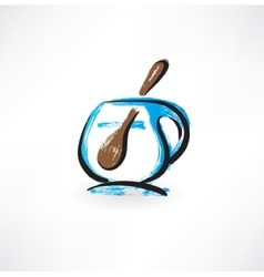 cup and spoon grunge icon vector image