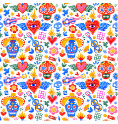 day dead mexican icons seamless pattern vector image